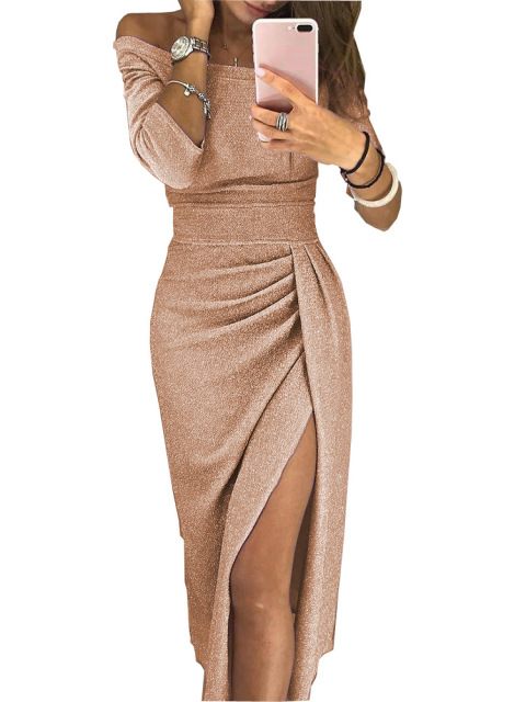 Sexy Shiny Bodycon Dress Women Off Shoulder Bling Long Party Dresses Sliver Bright Silk Shiny Dress Ruched Thigh Slit Vestidos