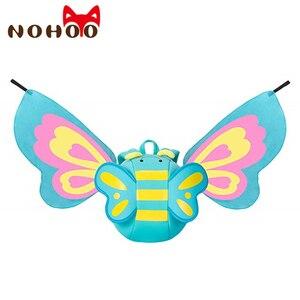 Image 2 - NOHOO karikatür çocuk çantası neopren Mini sırt çantaları anaokulu Schoolbag kızlar için 3D kelebek melek kanatları sırt çantası sırt çantası