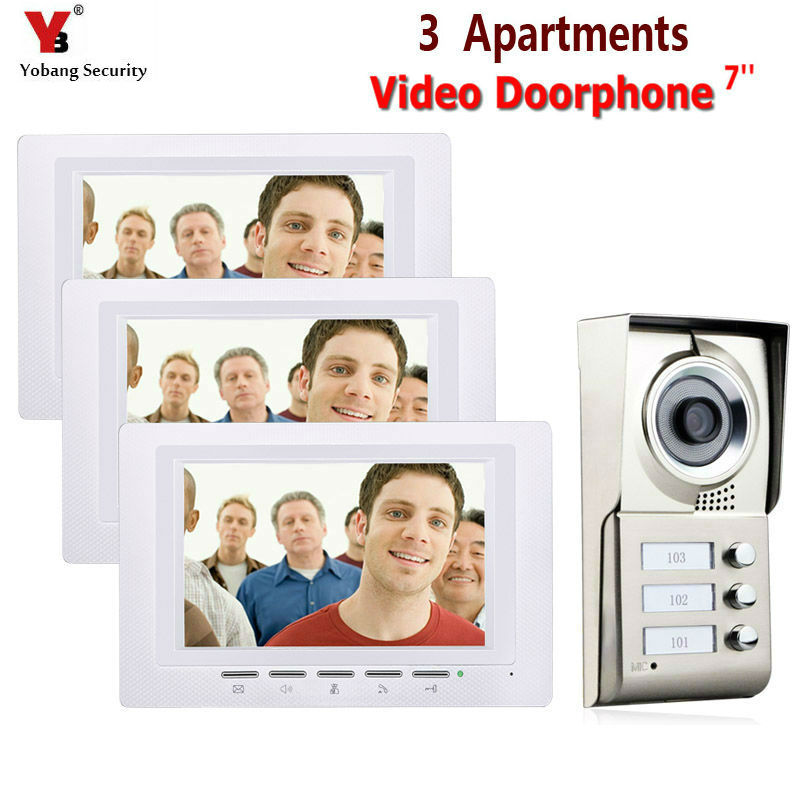 7inch LCD 3 Apartments Video Door Phone Intercom System IR-CUT HD 1000TVL Camera Doorbell Camera With 3 Button 3 Monitor