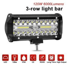 New headlights LED120W work lights 3 rows of 7-inch fog Auxiliary lightening