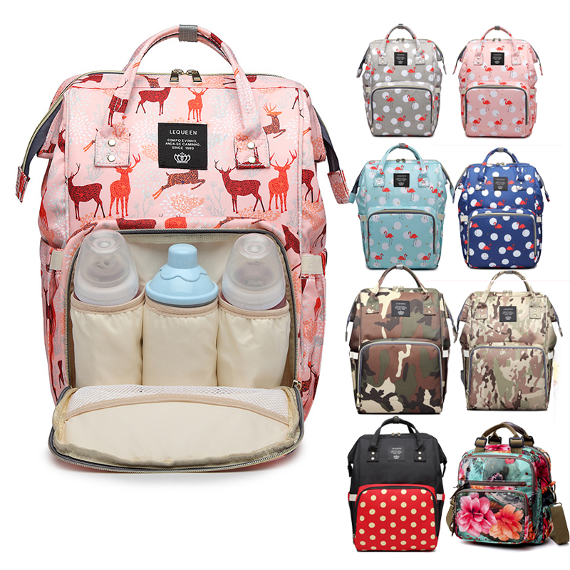 Diaper Bag Large Capacity Mom Backpacks Portable Baby Travel Bag Diaper Waterproof Anti-loss Zipper Nursing Bags Dropship
