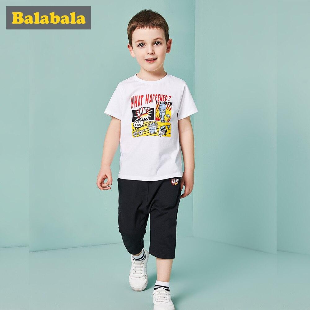 Balabala Toddler Boys Clothing Set Children Summer Boys Clothes Cartoon Hero Print Kids Boy Clothing Set T shit+Pants Cotton