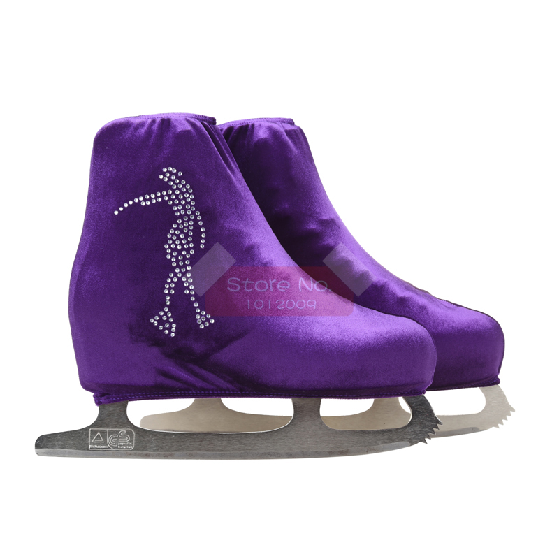 24 Colors Child Adult Velvet Ice Skating Figure Skating Shoes Cover Roller Skate Fabric Accessories White Skater 3 Rhinestone 47
