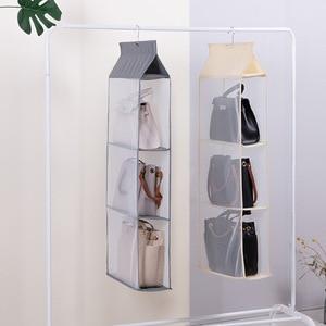 Image 3 - Wardrobe hanging organizer Tote bag hanging storage bag handbag organizer in the closet mesh purse handbag wardrobe organizer
