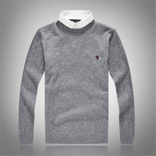 2018 spring and autumn's long sleeved wool sweater business men fake two shirt collar sweater knitted sweater color