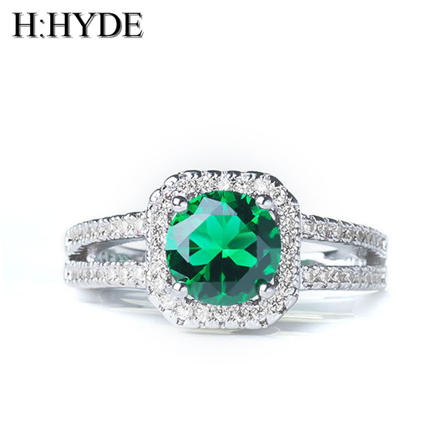 H:HYDE Classic 9 Colors 1Ct AAA CZ Stone Wedding Ring For Wom charming Cubic Zir