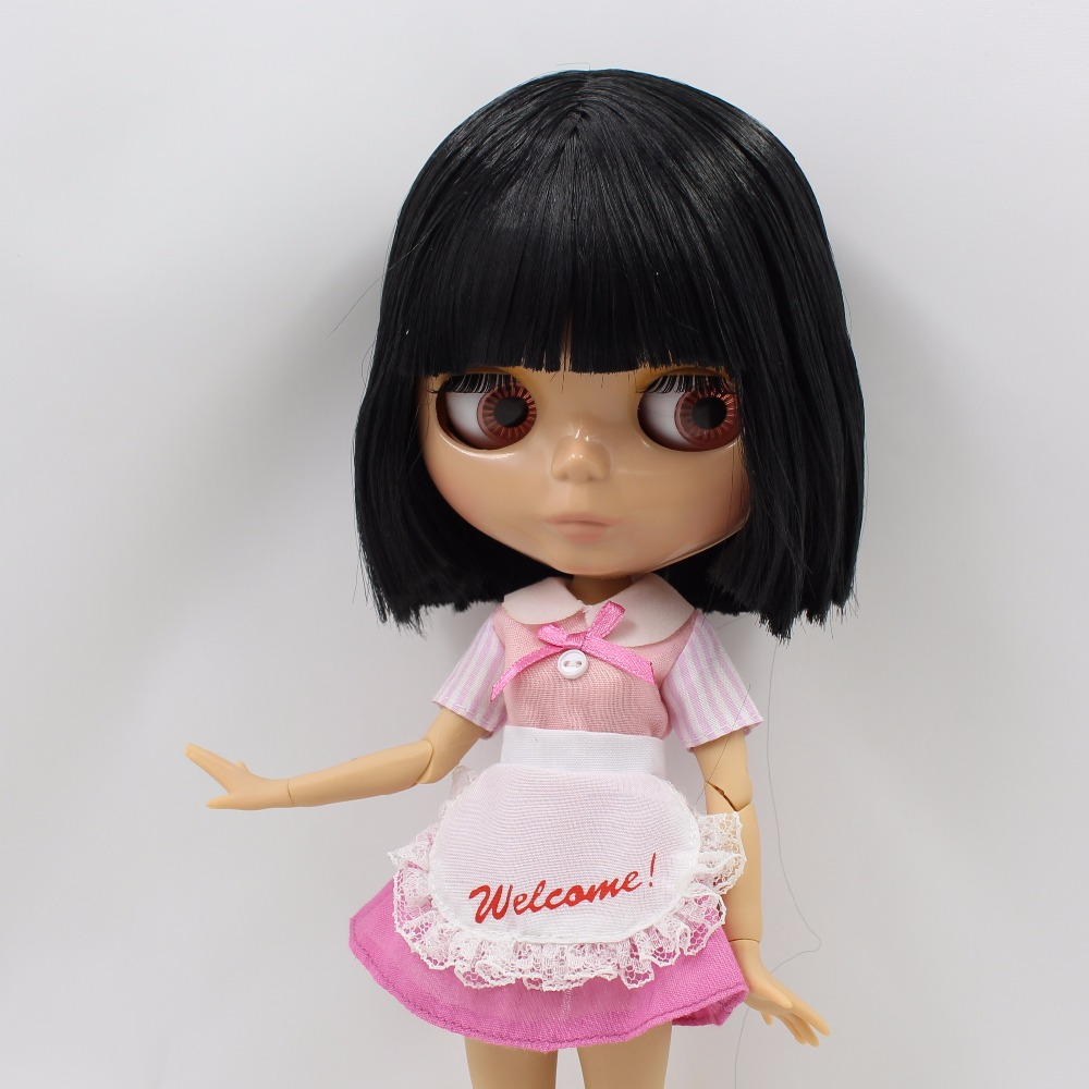 Neo Blythe Doll with Black Hair, Tan Skin, Shiny Face & Jointed Body 1