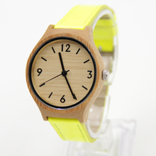 Lemon Color Wooden Watches For Women