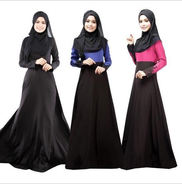 Бесплатная Доставка Мусульманин Абая Исламской Одежды Для Женщин Вечерние Макси Платья 2016 Длинные Рукава Черный Красный Синий