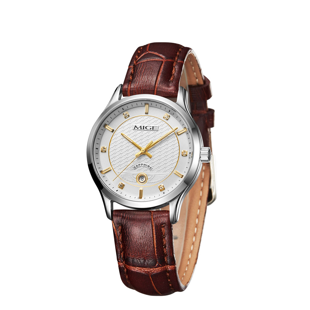 Mige 2017 Real New Hot Sale Fashion Ladies Watch White Brown Black Leather Strap Waterproof Female Clock Quartz Women Watches mige 2017 new hot sale lover man watch rose gold case white casual ultrathin waterproof relogio masculino quartz mans watches
