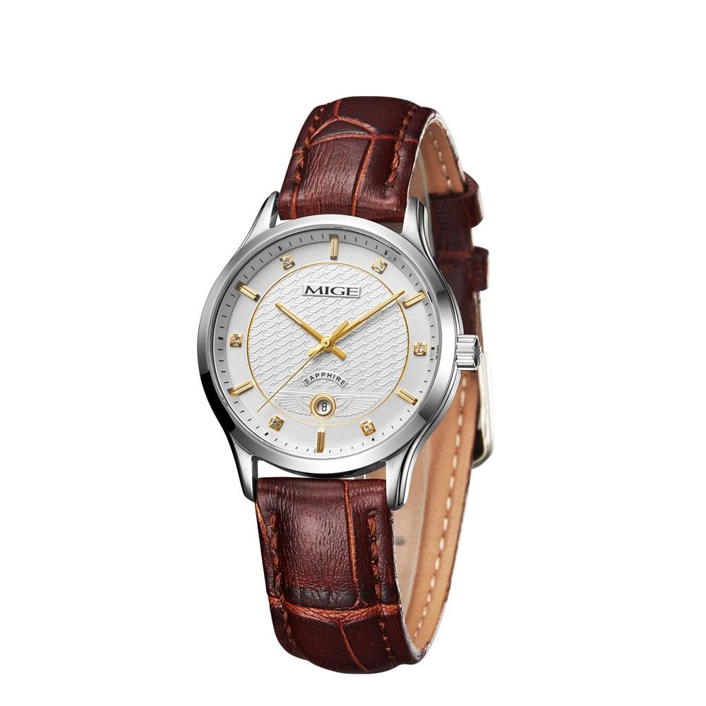 Mige 2017 настоящая Новинка Горячая Распродажа модные женские часы Белый Коричневый Черный Кожаный ремешок водонепроницаемые женские часы кварцевые женские часы