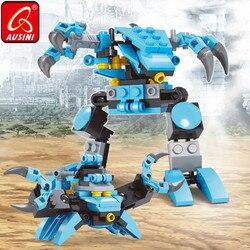 Ausini transformação robô caranguejo blocos de deformação brinquedos para crianças diy criador meninos modelo de construção conjunto designer figura tijolos