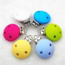 Купить с кэшбэком Chenkai 10pcs BPA Free Silicone Round Clips DIY Baby Teether Pacifier Dummy Montessori Sensory Jewelry Holder Chain Toy Clips