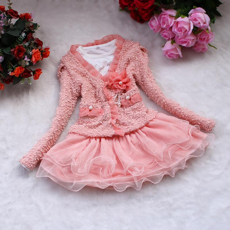 Real Photos Cute Girls Dress Sets Pink / Beige Princess Lace Dresses Tulle Dress+ Long Shirt for girl Children 2016 new girls clothes 100% cotton cute pink gray lace dress for the girl princess dress art bowknot sleeveless dress