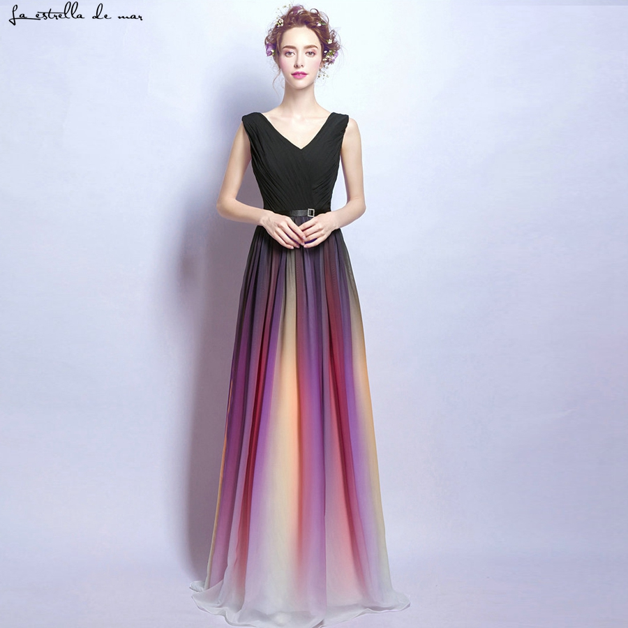 Sukienka na wesele dla kobiety new sexy V-neck chiffon crystal waistband gradient rainbow   bridesmaid     dresses   long cheap