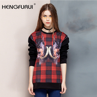 HENGFURUI Casual Pet Dog Printed Full Sleeve T-shirt Red Black Plaid Tops European and American Style Loose Tee