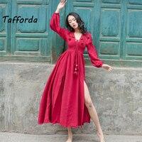 2018 modelli primavera grande rosso estate del vestito di lino cotone sciolto abito a vita alta donna signora femminile abiti Del Partito abiti da sposa