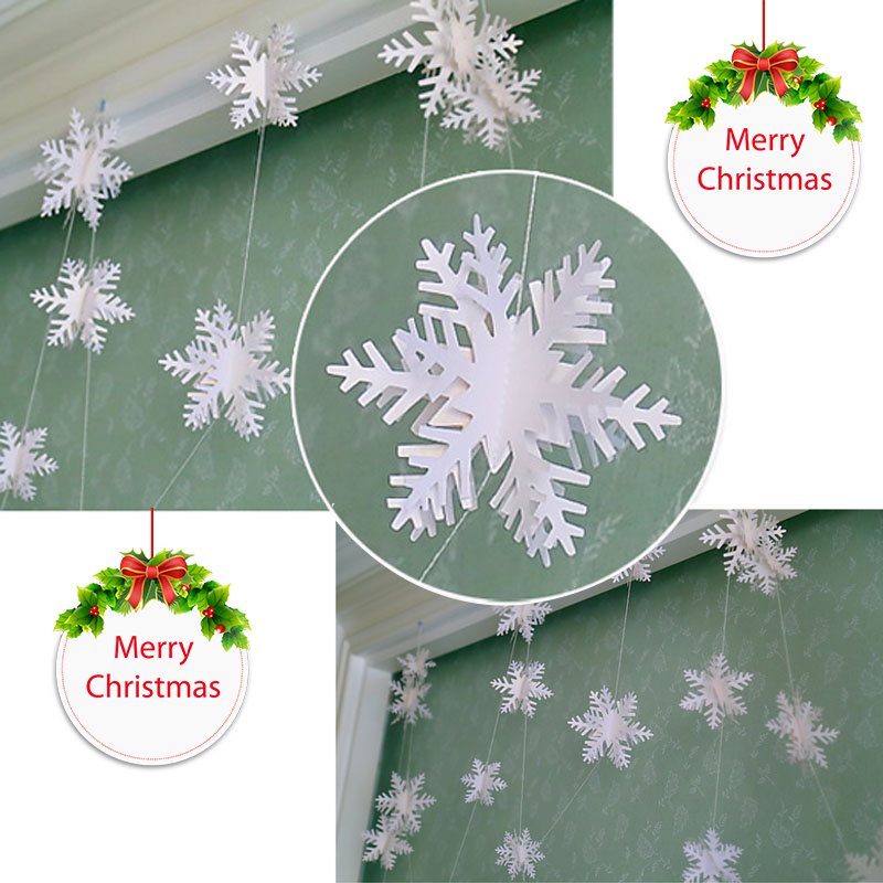 4 Pcs/Set 3m Hanging Ornament 3D Paper Snow Garland White DIY Craft Christmas Hang Decoration Party Supplies 2017ing