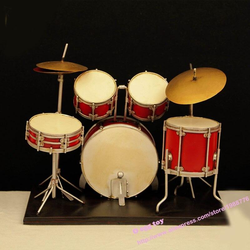 Red vintage drums musical instrument metal toy safe cool diecast handmade art...