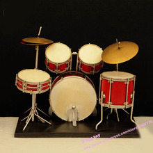 Red vintage drums musical instrument metal toy safe Cool Diecast Handmade Art Metal Toys drums percussion collection