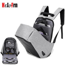 HeloFrn Laptop Backpack Men Fashion Bag Anti Theft Male Bagpack USB Charging Women Backpack Travel Oxford Gray Black Mochila