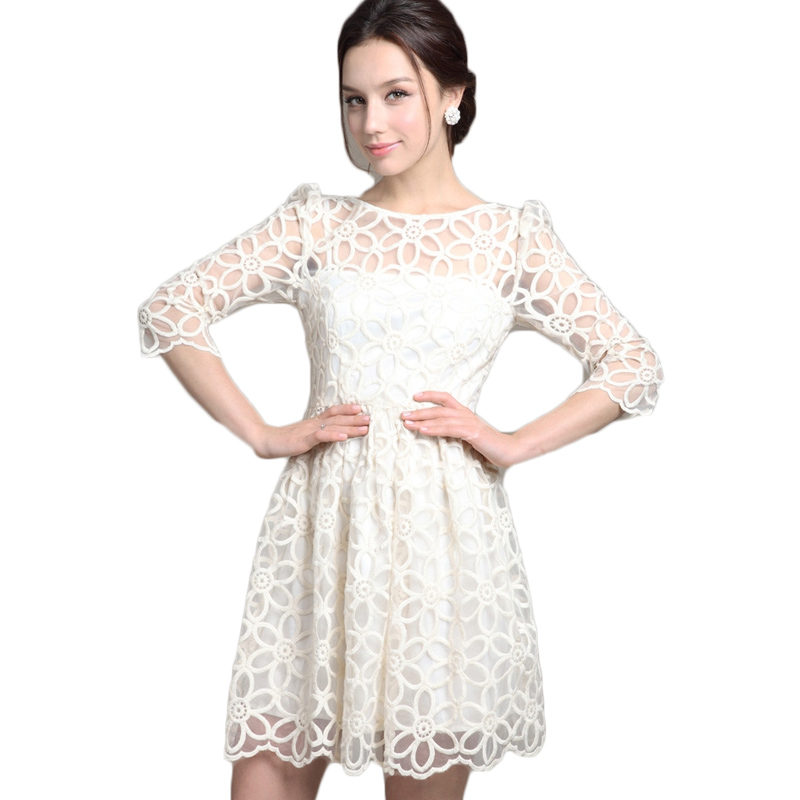 2016 spring summer fashion elegant women white lace dress for White dress after wedding