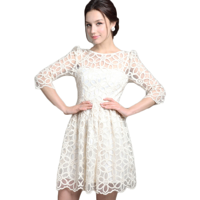 2017 Spring Summer Fashion Elegant Women White Lace Dress Wedding ...