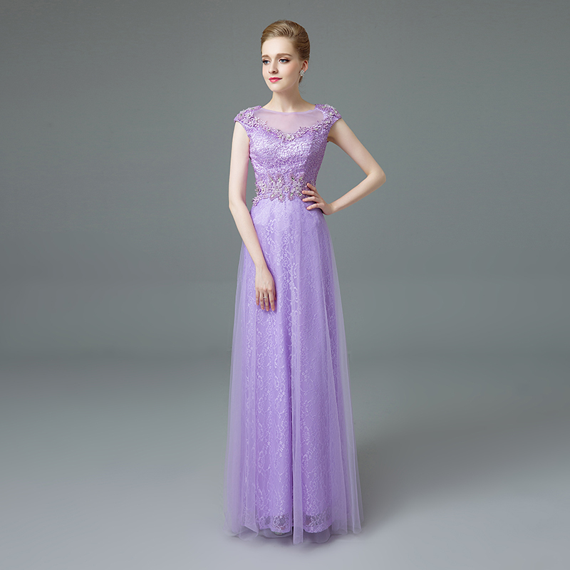 2015 Vestidos De Fiesta Lilac Tulle Lace Prom Dress A Line Sheer ...