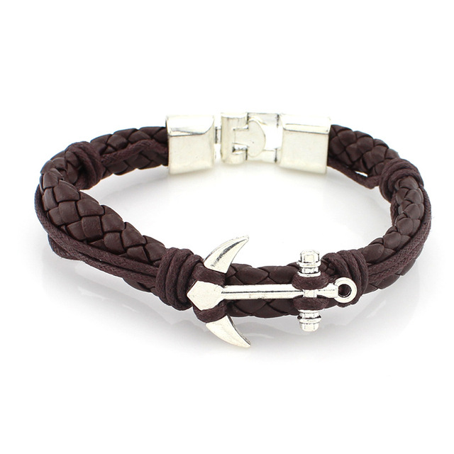 Fashion Anchor Bracelet Cowhide Pu Leather Europe And America Alternative Alloy Buckle