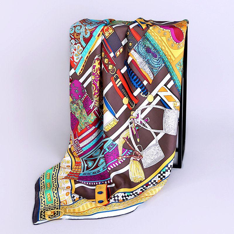 Fashion Printed Bandana Hijab Foulard 100% Silk Twill   Scarf   Square Silk   Scarf   Women 90 Female   Scarves   &   Wraps   Shawl Hand Rolled