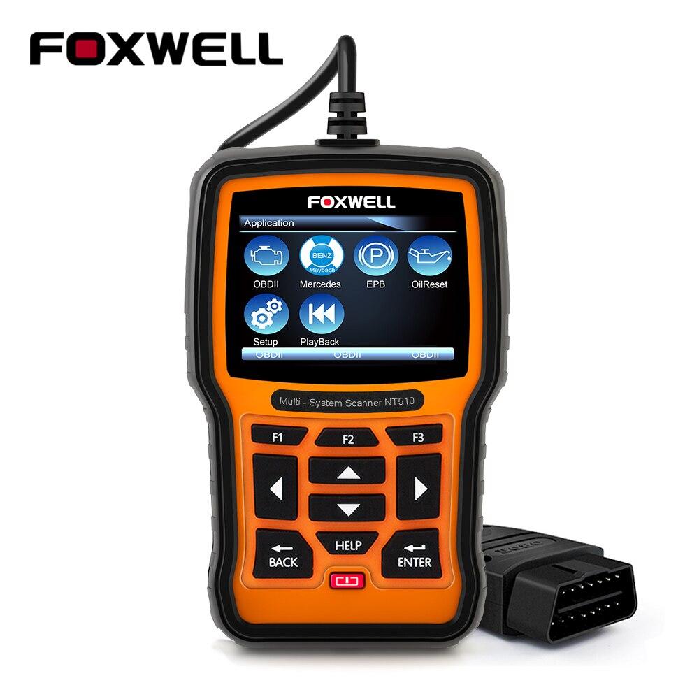 Foxwell NT510 ODB OBD2 сканер для автомобилей Mercedes Benz Профессиональный диагностический масло сканера Услуги сброса пневматической подвеской средст...