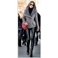 2019 Hot Winter Short Coat Women Woollen Plaid Hooded Overcoat Fashion Slim Long Outwear manteau femme hiver Wool Coat z30