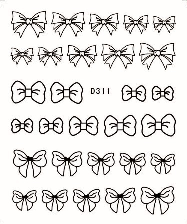 44 Designs Trendy Bow Moustache Lace Nail Art Wrap Water Decals BLACK Sheets Lot
