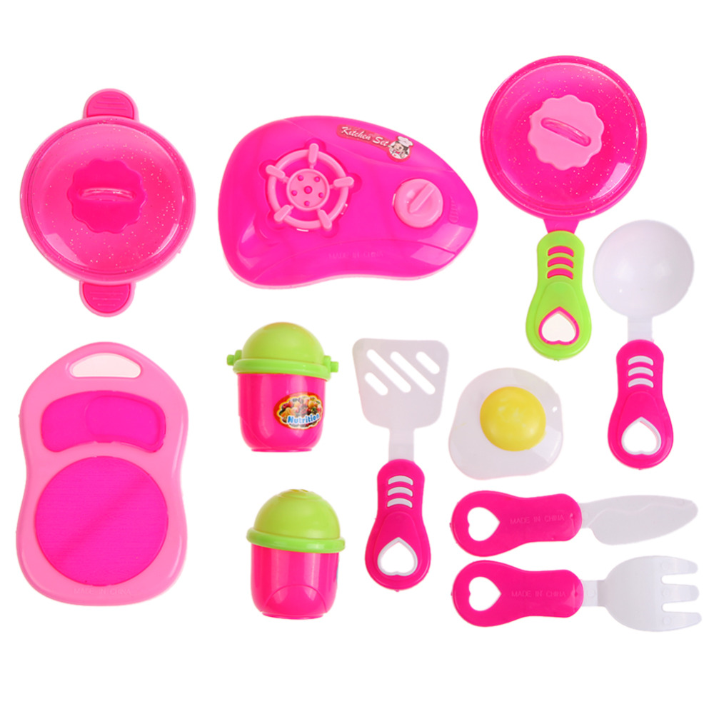 Plastic Kitchen Ware Cooking Pretend Play Kitchen Toys Cooking Stove Toy Cookware Set Toys for Girls Children