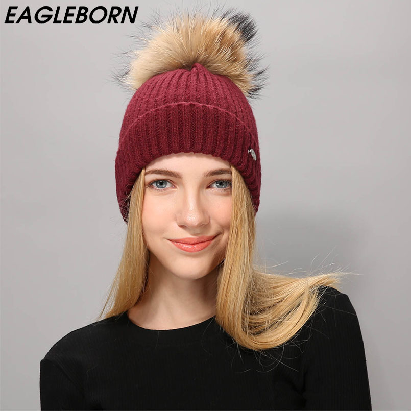 EAGLEBOR Raccoon Fur Pom Poms Hat Female Warm Wool Women's Cap Knitted Girl Winter Hats 2019   skullies     Beanies