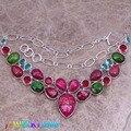 Incrível Rosa Pedra Natural 925 Colar de Prata de Alta Qualidade Grau L500
