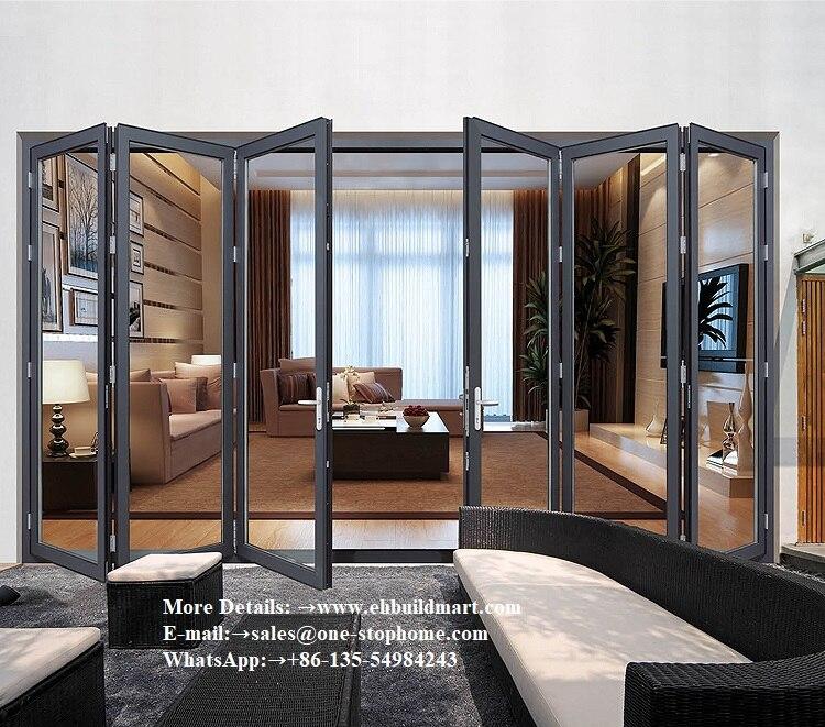 Australian Standards Double Glazing Lowes Bi Fold Door,entrance Door,black Aluminum Glass Interior Doors,doors Room Divider Top
