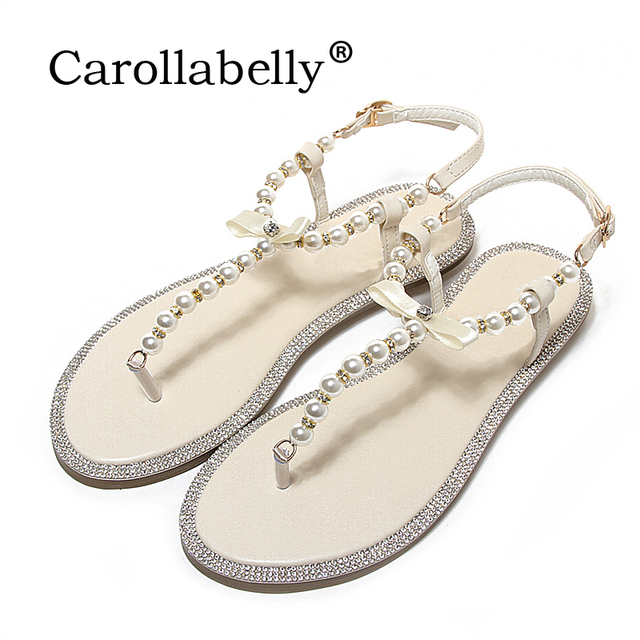 10c266fe976ab0 2017 Brand women s sandals summer beaded stone pearl female sandals Rome  flat sandwich toe women s sandals flat wedding shoes