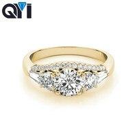 QYI 14k Yellow gold Three Stone Ring Anniversary Gift Round Cut Simulated Diamond Engagement Rings For Women