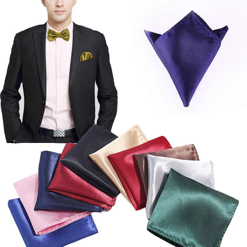 Satin Handkerchief For Men Candy Color Mens Suits Pocket Square Business Chest Towel Hanky Suit Napkin Solid  Sale
