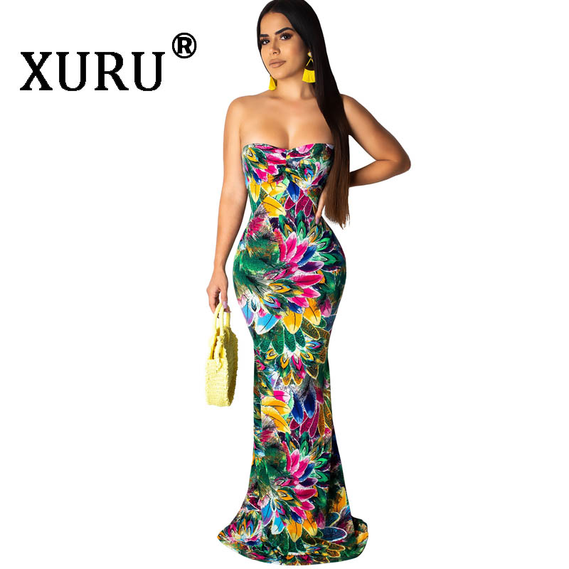 XURU New Women 39 s Sexy Tube Top Print Dress Hot Naked Back Cross Belt Long Dress in Dresses from Women 39 s Clothing