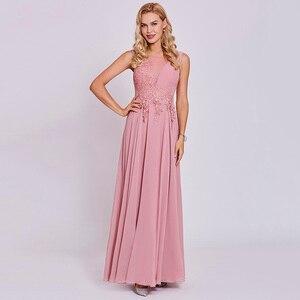 Image 3 - Dressv peach long evening dress cheap scoop sleeveless a line zipper up wedding party formal dress appliques evening dresses