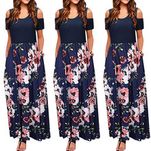 2019Women Top Women' Cold Shoulder Pocket Floral Print Elegant Maxi Short  Sleeve Casual Dress