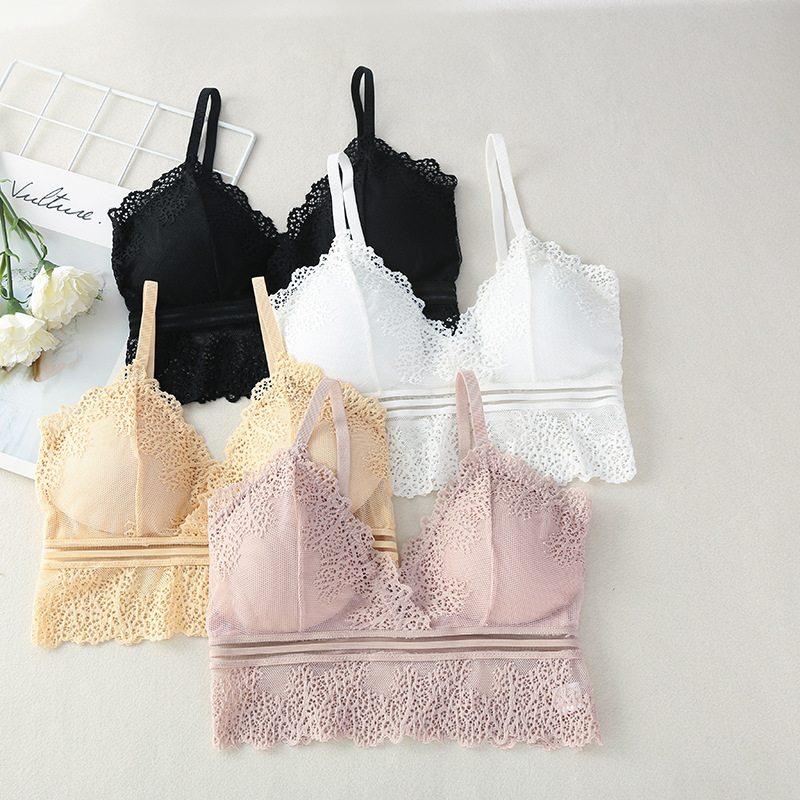 Lace Bralette Women Tube Top Deep V Bra Cropped Bandeau Corset Camis Bras Soft Comfort Tank Top