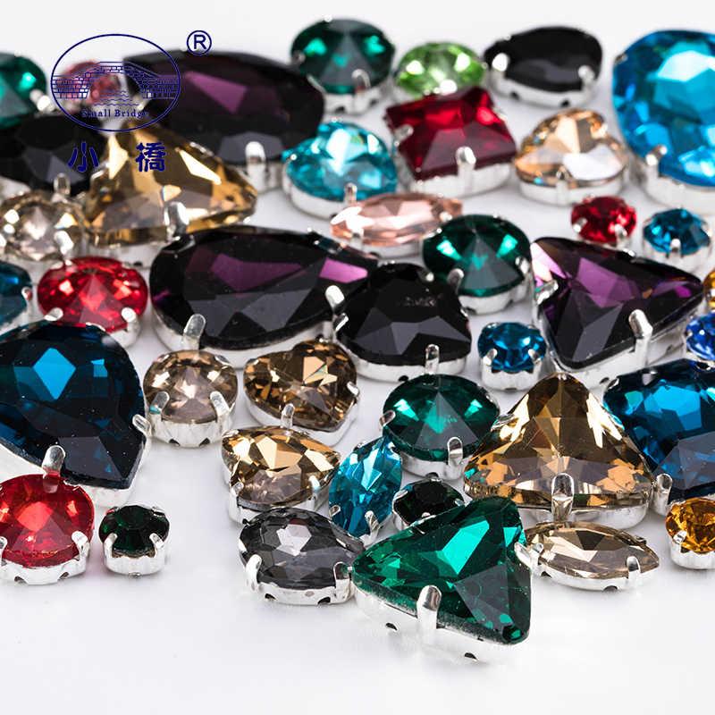 Grânulos de vidro flatback decorativos para a roupa diy solto costurar em cristais forma misturada grânulos de vestuário com garra 50 unidades/pacote s056