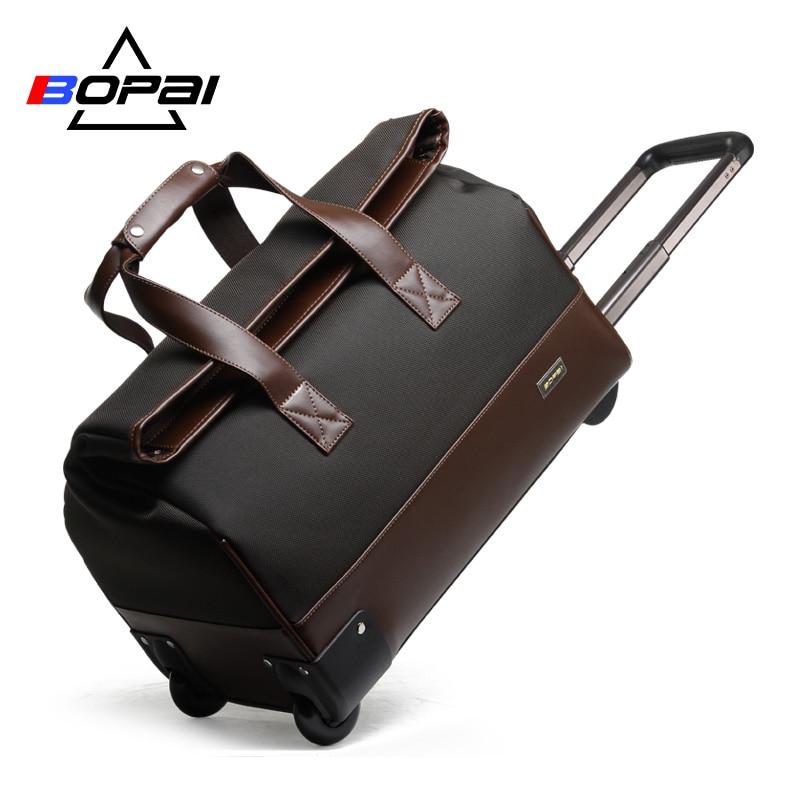 Waterproof Trolley Luggage Men Travel Bags Black Brown Travel Bag Women Luggage Bag Weekend Duffle Bag maletas de viaje women travel luggage bag tri glide button black 10 piece pack
