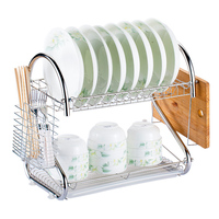 Metal Tableware Storage Rack Two Layers Cup Holder Kitchen Storage Bowls Rack Dishes Chopping board Holders Organization