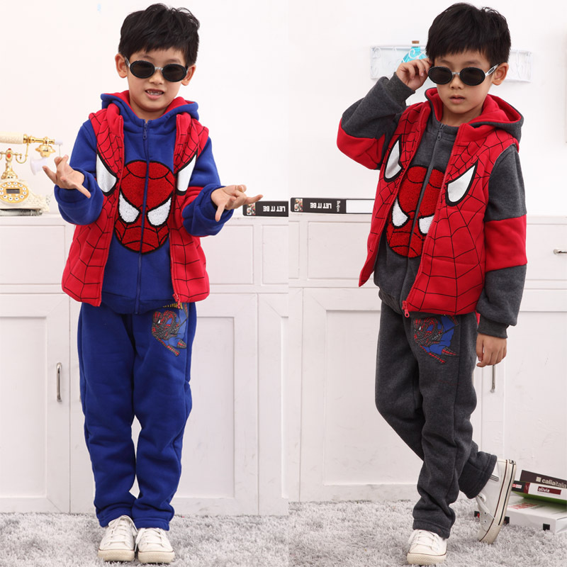 3 pcs Spiderman Suit Thick Children Clothing Sets Jacket + Pullover + Pants Autumn Winter Kids Boy Knitted Clothes Roupas Menino