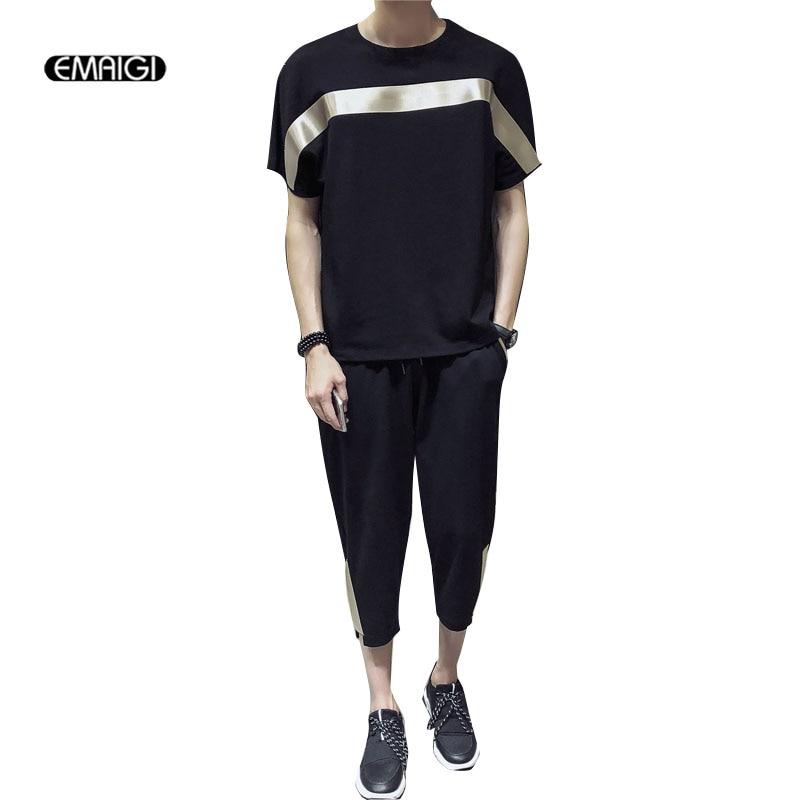 Men 2PCS Sets (tshirt+pant) Male High Streetwear Hip Hop Loose Bat Sleeve Tees Harem Trousers Joggers Clothes