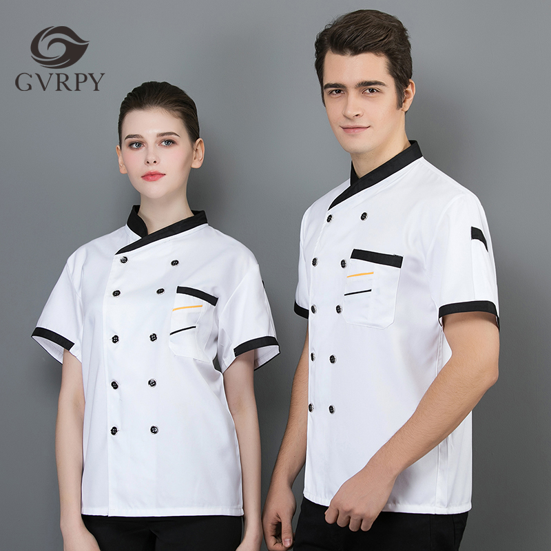 Unisex Summer Short Sleeve Patchwork Chef Jacket Gourmet Service Hotel Restaurant Chef Cooking Cuisine Work Shirt Wholesale